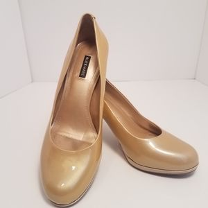 "Alex Marie 3""heel size 7, gold/nude patent leather"